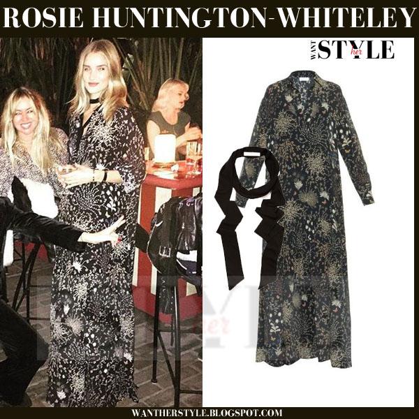 Rosie Huntington-Whiteley in black herbal print maxi Chloe dress what she wore model style