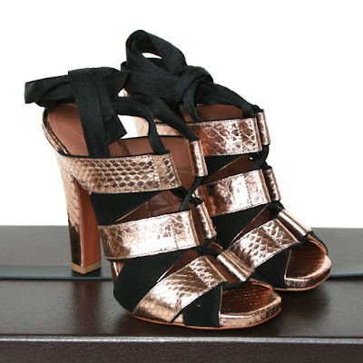 alaia copper snakeskin lace up ankle wrap heels