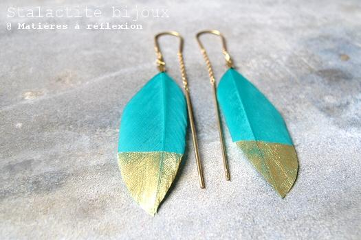 Bijoux Stalactite plume turquoise boucles d'oreilles Squaw