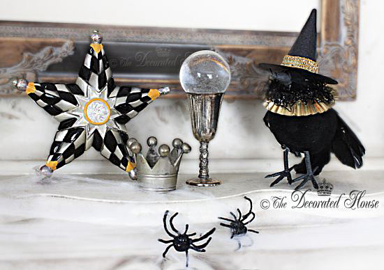 Decorating for Halloween : The Decorated House :: Decorating with Black and White, MacKenzie Child Star and Crows with Hats!