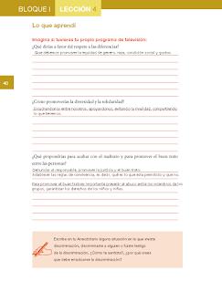 Respuestas Apoyo Primaria Formación Cívica y Ética 5to grado Bloque I lección 4 Respeto y buen trato