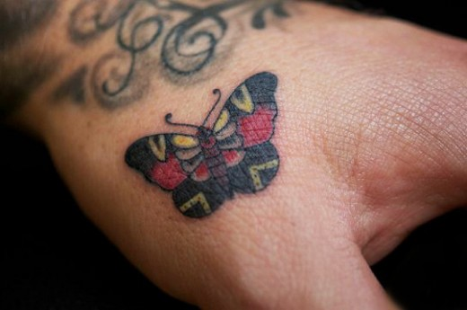 Female Hands Butterfly Tattoos