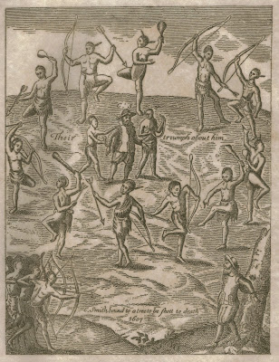1600s engraving shoiwng the capture of John Smith by the Native Americans
