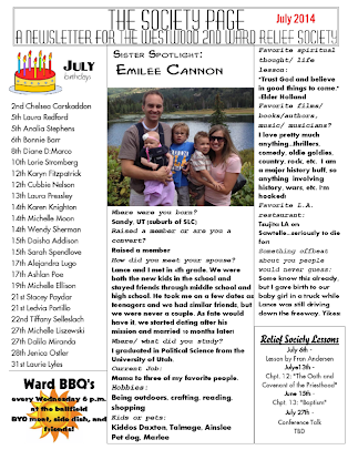July Relief Society Newsletter