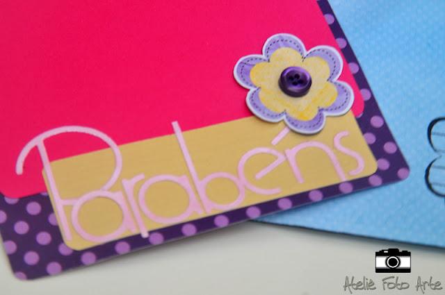 Cartão de scrapbook- Parabéns