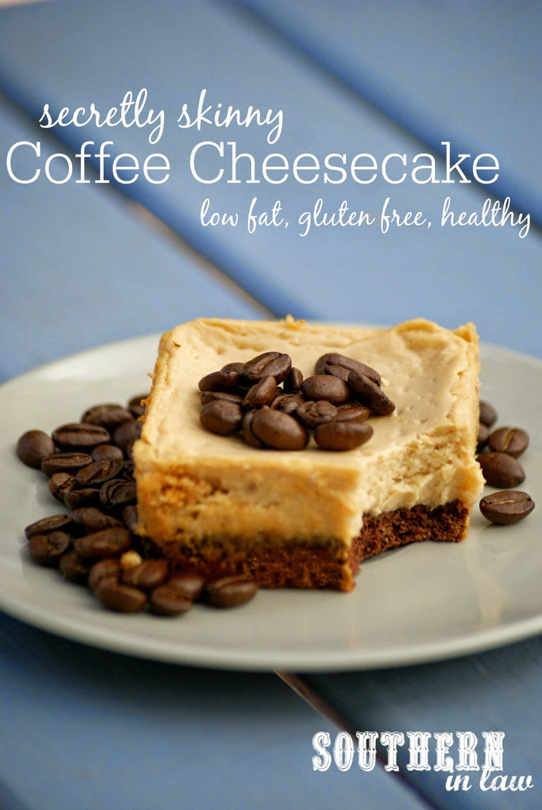 Secretly Skinny Coffee Cheesecake with a Chocolate Cookie Crust Recipe - low fat, gluten free, low sugar, high protein