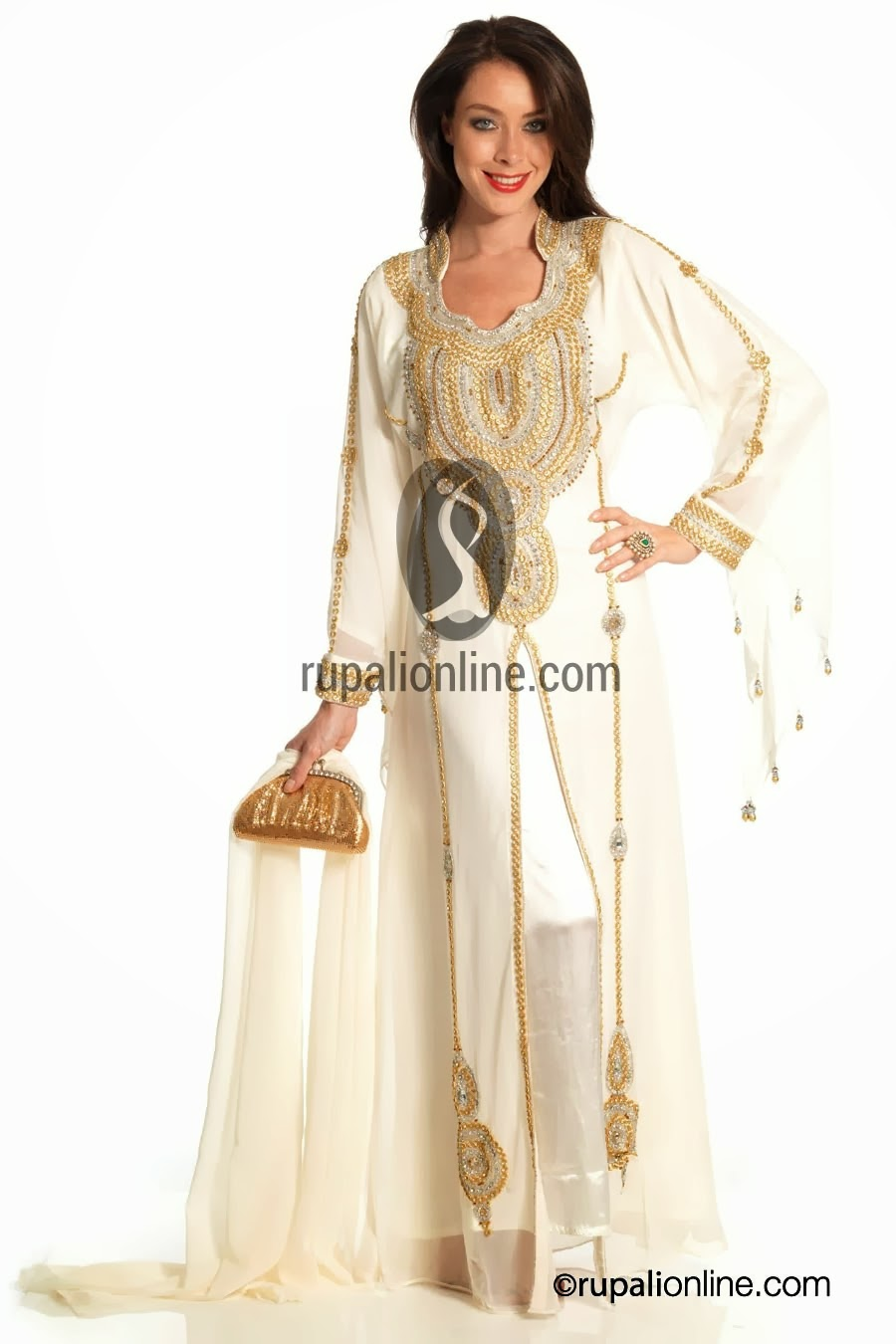 831405047e8 Zaal Embroidered Farasha Collection 2013 14. Georgette White and Glowing  Pink Maxi For Party Occasions