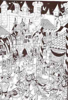 Dibujo de Josep Escobar, batalla medieval