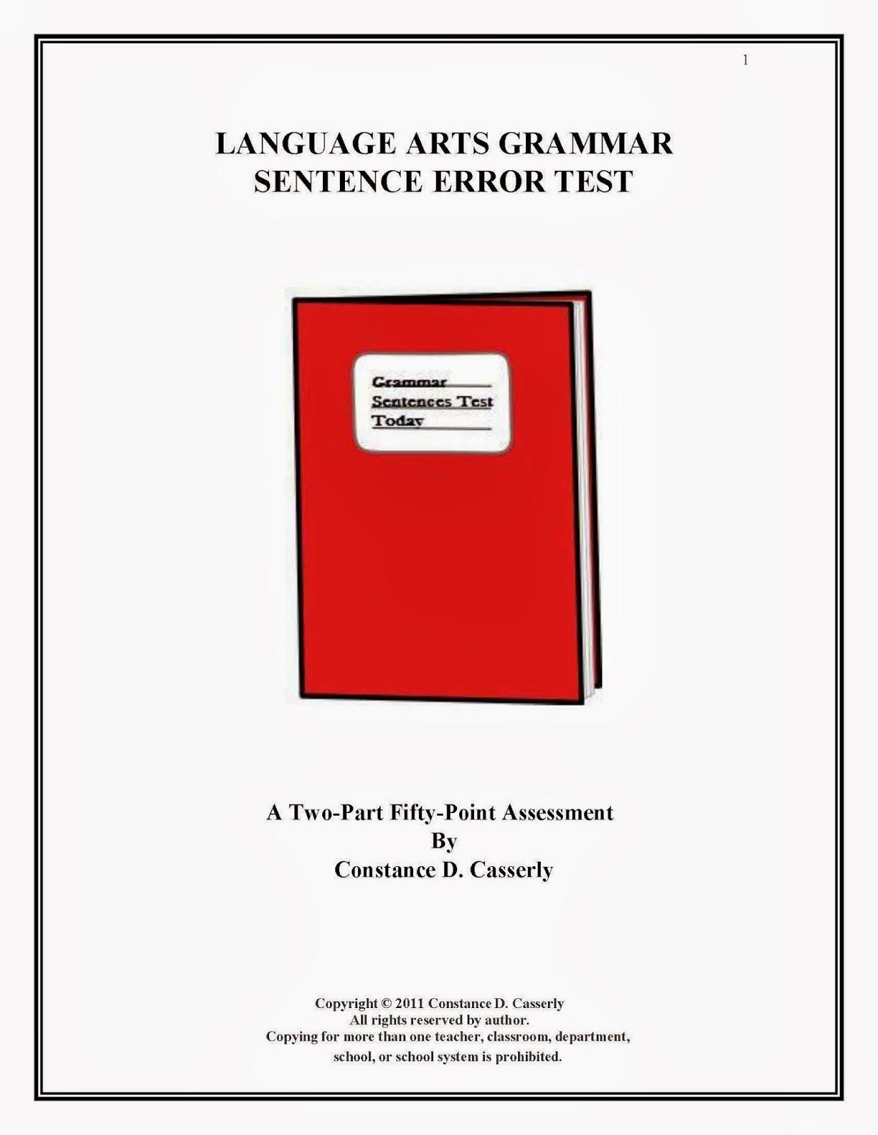 Middle School and High School Grammar -Sentence Error Test
