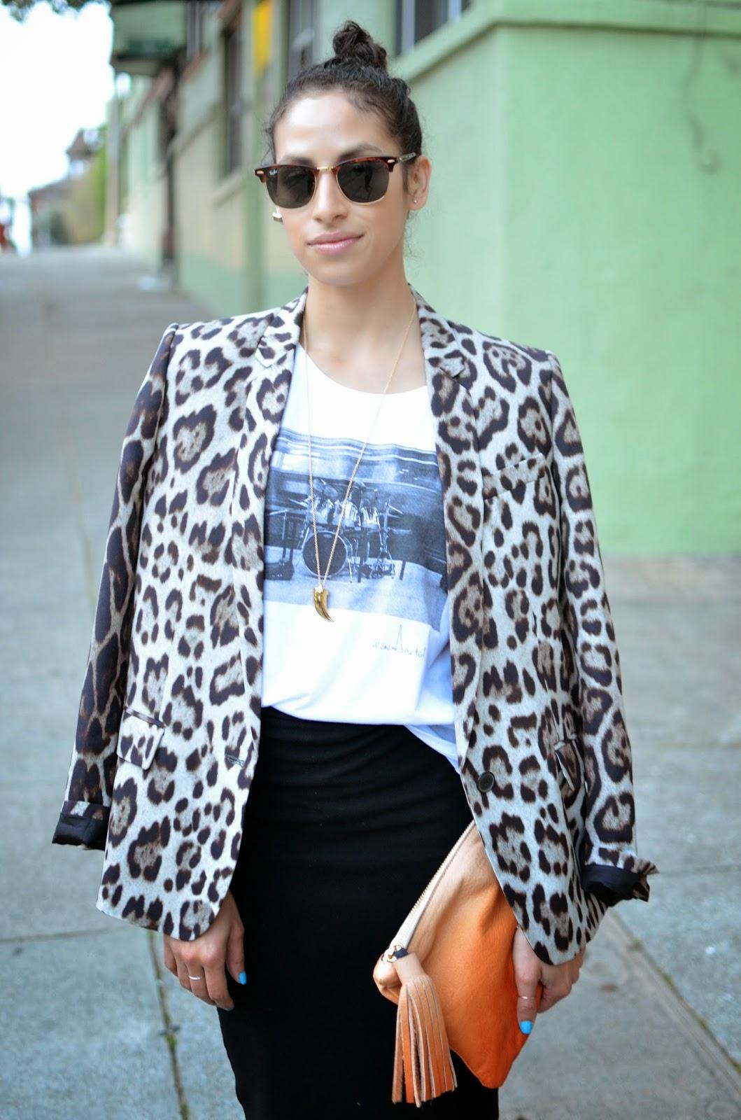 leopard print blazer, zara blazer, Les Mechantes tee,AYK fringe tassel clutch, Le Tote black pencil skirt
