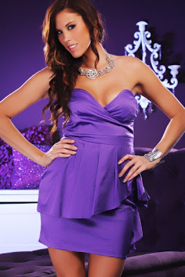 PURPLE STRAPLESS SATIN SWEETHEART NECK RUFFLE DRESS