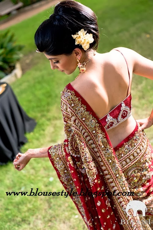 RED BACK NECK SAREE BLOUSE