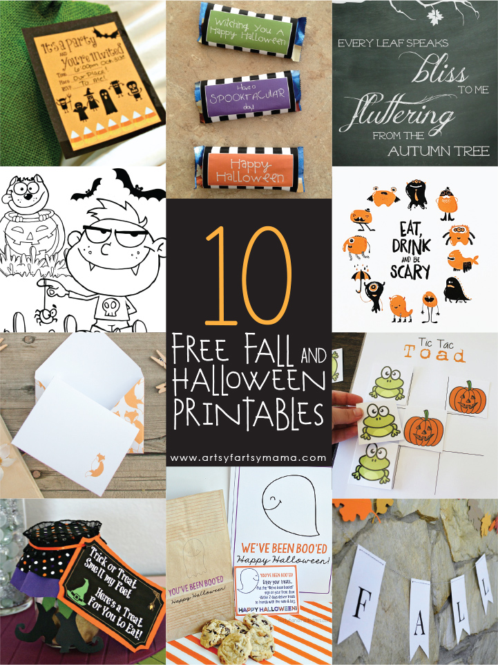 10 Free Fall and Halloween Printables at artsyfartsymama.com