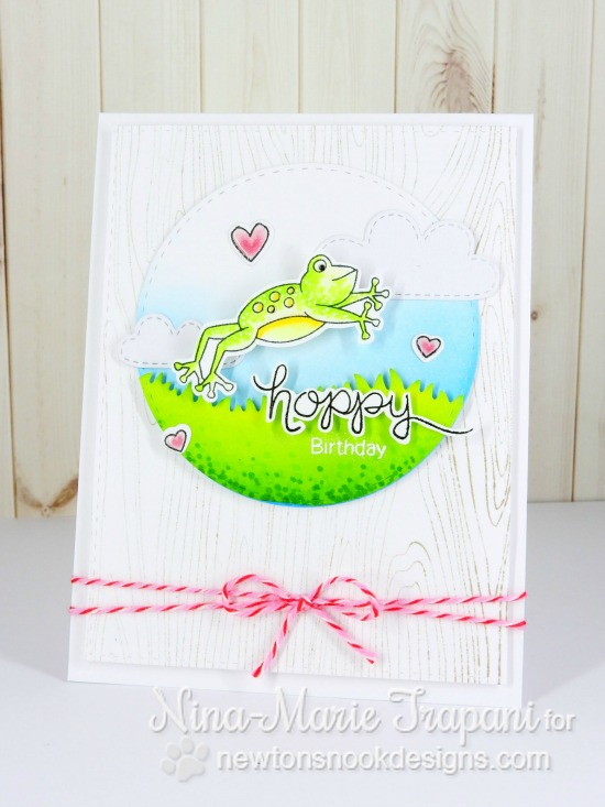 Hoppy Birthday Frog Card by Nina-Marie Trapani | Hoppy Days Valentine Stamp Set by Newton's Nook Designs #newtonsnook