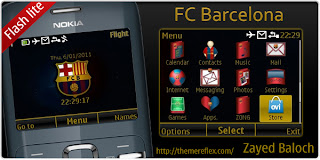 barcelona with clock black n gold C3 by ZB Download Tema Nokia C3 Gratis