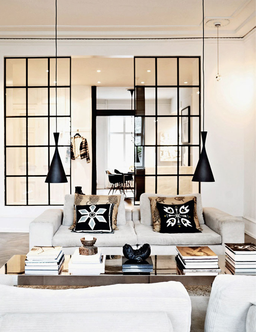 Chicdeco Blog | | 10 beautiful interiors with black framed glass doors