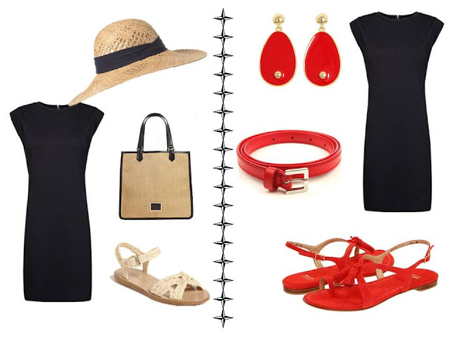 black dress worn with natural/straw accessories; black dress with red accessories