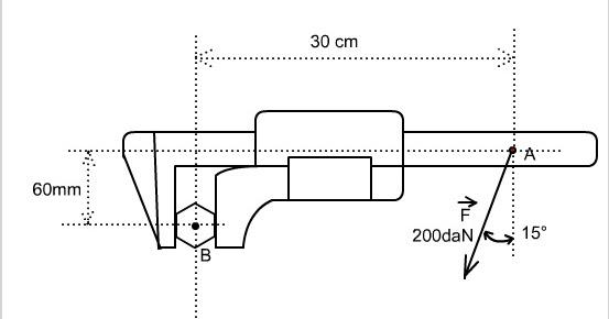 mecanique en ligne calcul d 39 un couple sur une cl molette. Black Bedroom Furniture Sets. Home Design Ideas