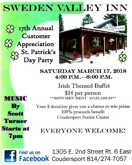 3-17 St. Pats Party, Sweden Valley Inn