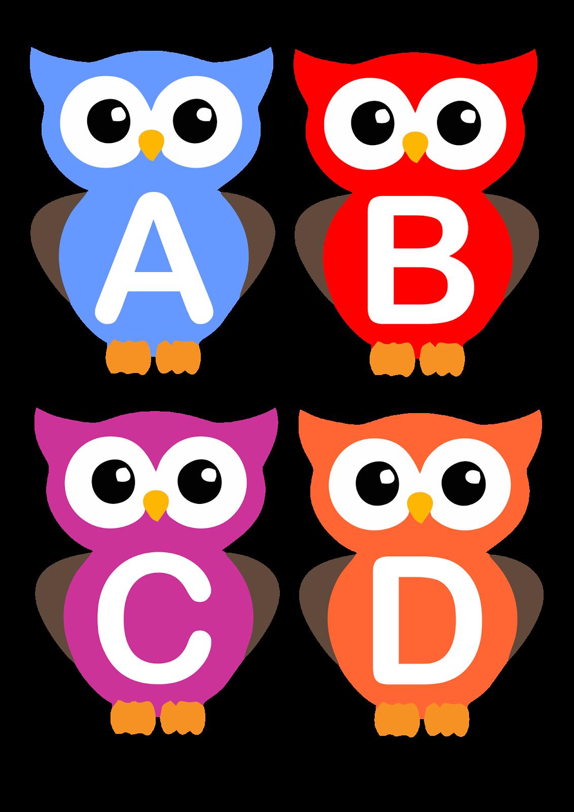 Alfabeto Letra Bastão Corujinhas