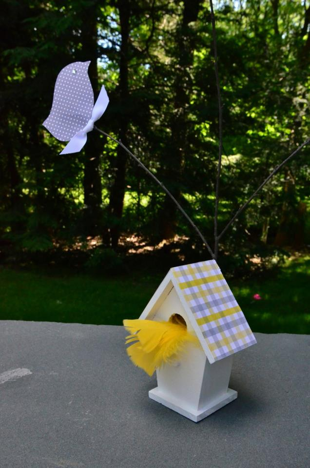 Birdie Houses for Yellow and Gray Baby Shower