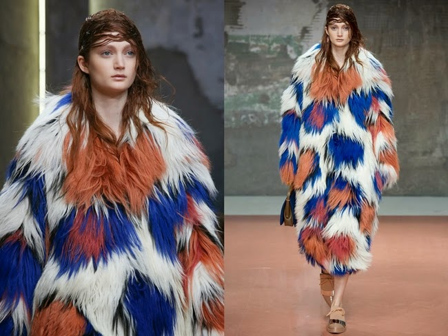 Marni 2014 AW Big Collar Colored Shearling Coat