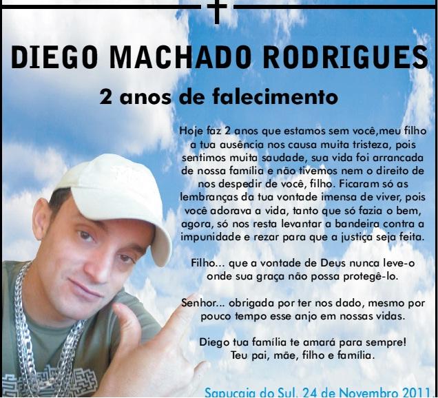 Diego Machado Rodrigues vive em nossos corações: 2 anos de falecimento