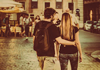 body and girlfriend tender embrace, romantic walk