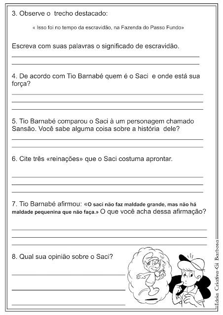 Atividade Texto e Interpretação / Tio Barnabé Sítio do Picapau Amarelo