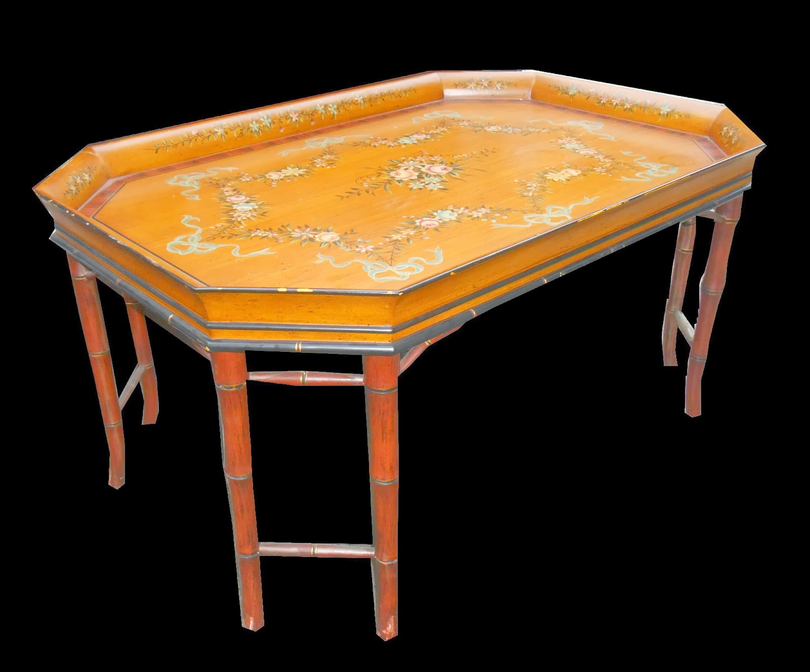 Uhuru Furniture Collectibles Painted Faux Bamboo Coffee Table Sold