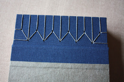 Japanese stab binding thread close up