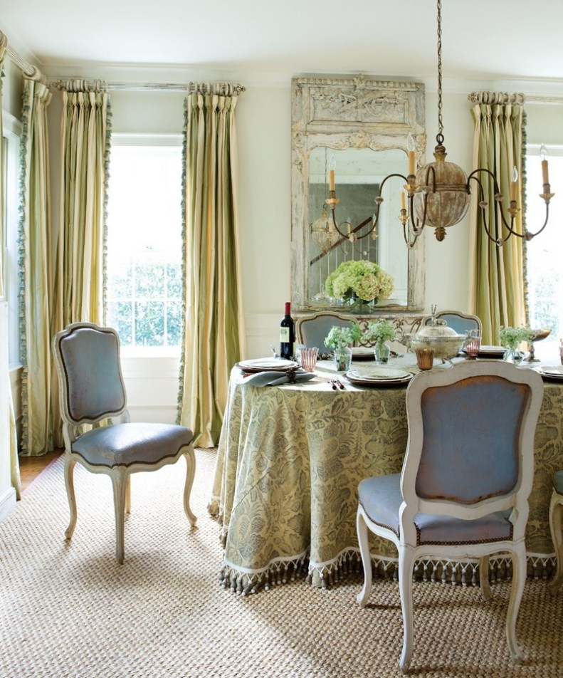 Vintage mulberry table for two for Yellow dining room decorating ideas