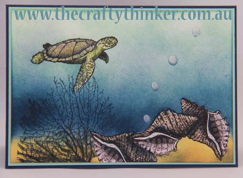 SU, sponging, underwater, hand made card, turtle, under the sea, cardmaking classes