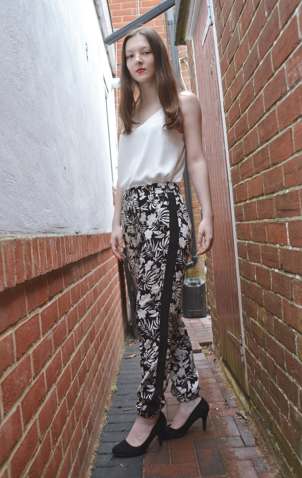 lunar look monochrome floral trousers