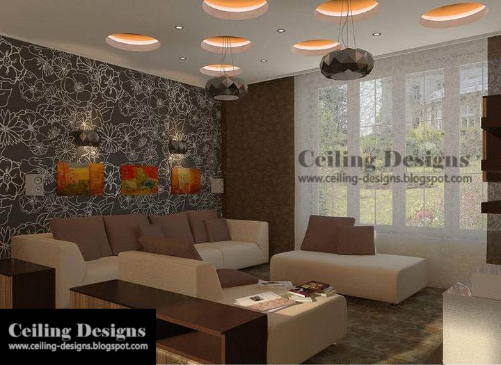 fall ceiling designs for living room with coffered glass circles and ...