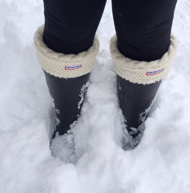 hunter boots in snow