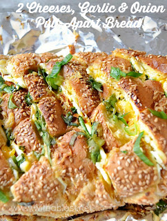 2 Cheeses, Garlic and Onion Pull-Apart Bread ~ Gooey, double cheese with Garlic and Spring Onions makes this Pull-apart Bread a winner every time ! {the secret is in the Butter mixture!}