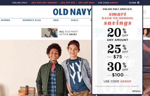 Old Navy Smart Back To School Savings Up To 30% off Promo Code