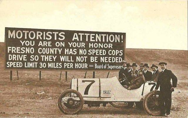 36 Amazing Historical Pictures. #9 Is Unbelievable - 1920s Speed Limit Sign.