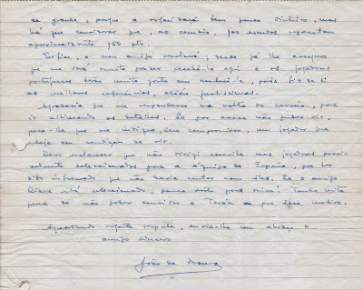 Carta de Joâo da Moura  a Ángel Ribera, 1954 (2)