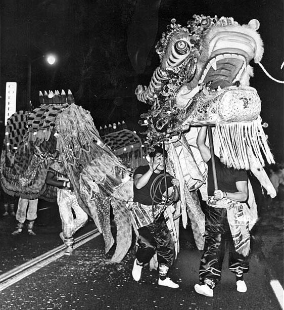 21 1966 a dragon parades on north broadway celebrating 4664th chinese new year to greet the year of the horse - Chinese New Year 1966