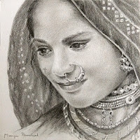 Original pencil sketching of a portrait of a kutch woman by Manju Panchal
