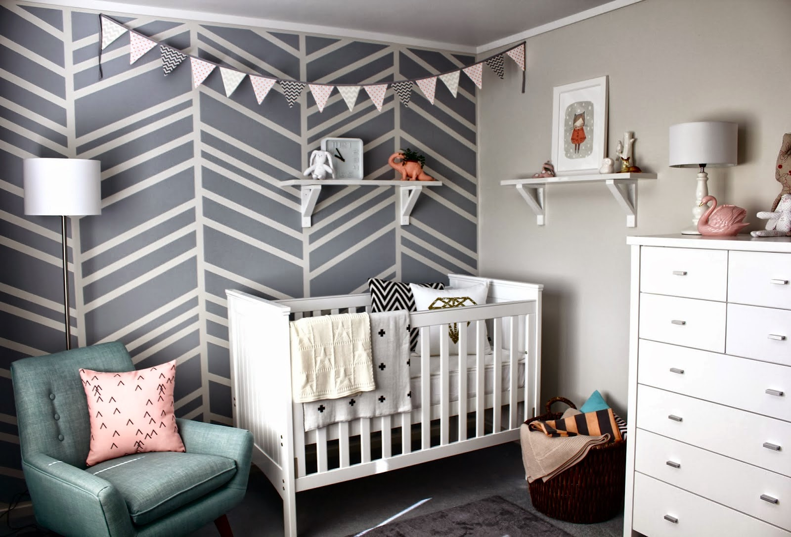 Cot Bed: Farmers (New Zealand) Chevron Cushion In Cot: Witchery (Australia)  Diamond Cushion In Cot: Lorna Love Shelves: Bunnings Warehouse (New Zealand)