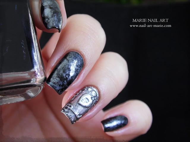 Nail Art effet Métal Ancien en 3D11