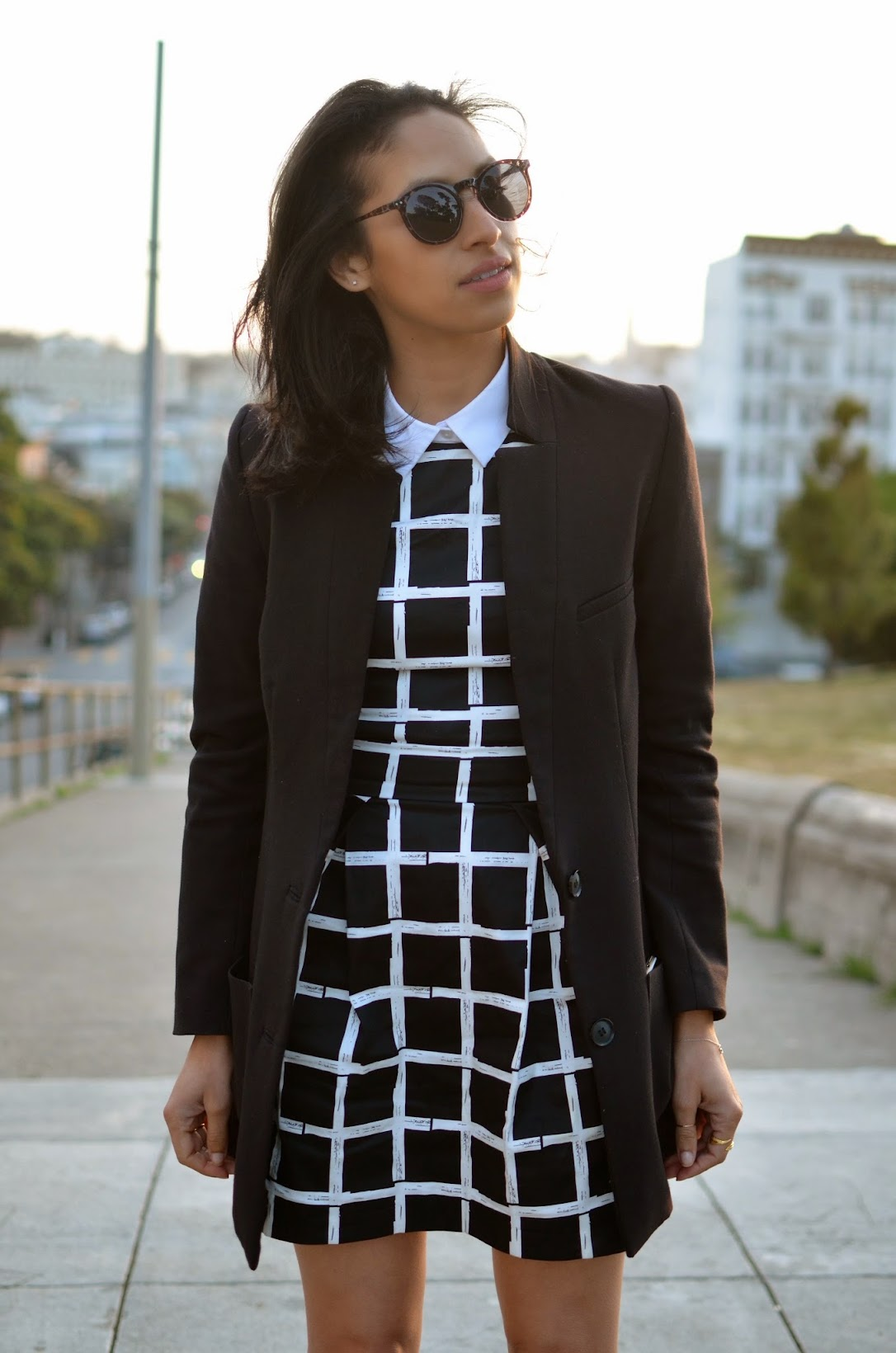work style, work chic, windowpane dress, windowpane print, what to wear to work, what to wear on Monday, Ariat black riding boots, black riding boots, Riding boots