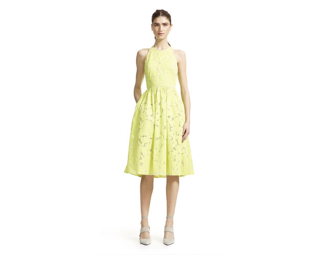 whistles lemon dress, lemon dress full skirt, lemon dress with pockets, yellow burn out dress, whistles yellow dress,