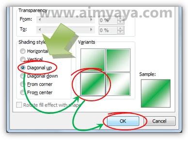 Gambar: Memilih style gradiasi warna background dokumen microsoft word 2010