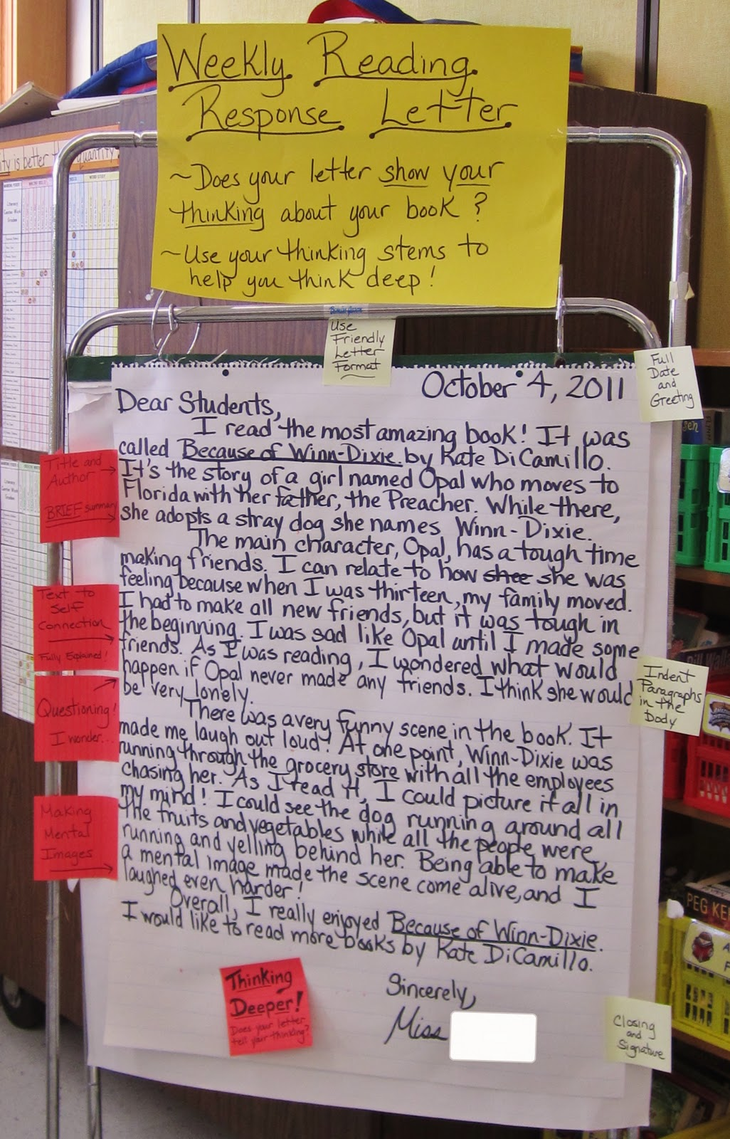 Teaching my friends weekly reading response letters part 1 i put up the letter and read it to the class then we discuss basics did i use friendly letter format lets review the parts those are what the yellow spiritdancerdesigns Gallery
