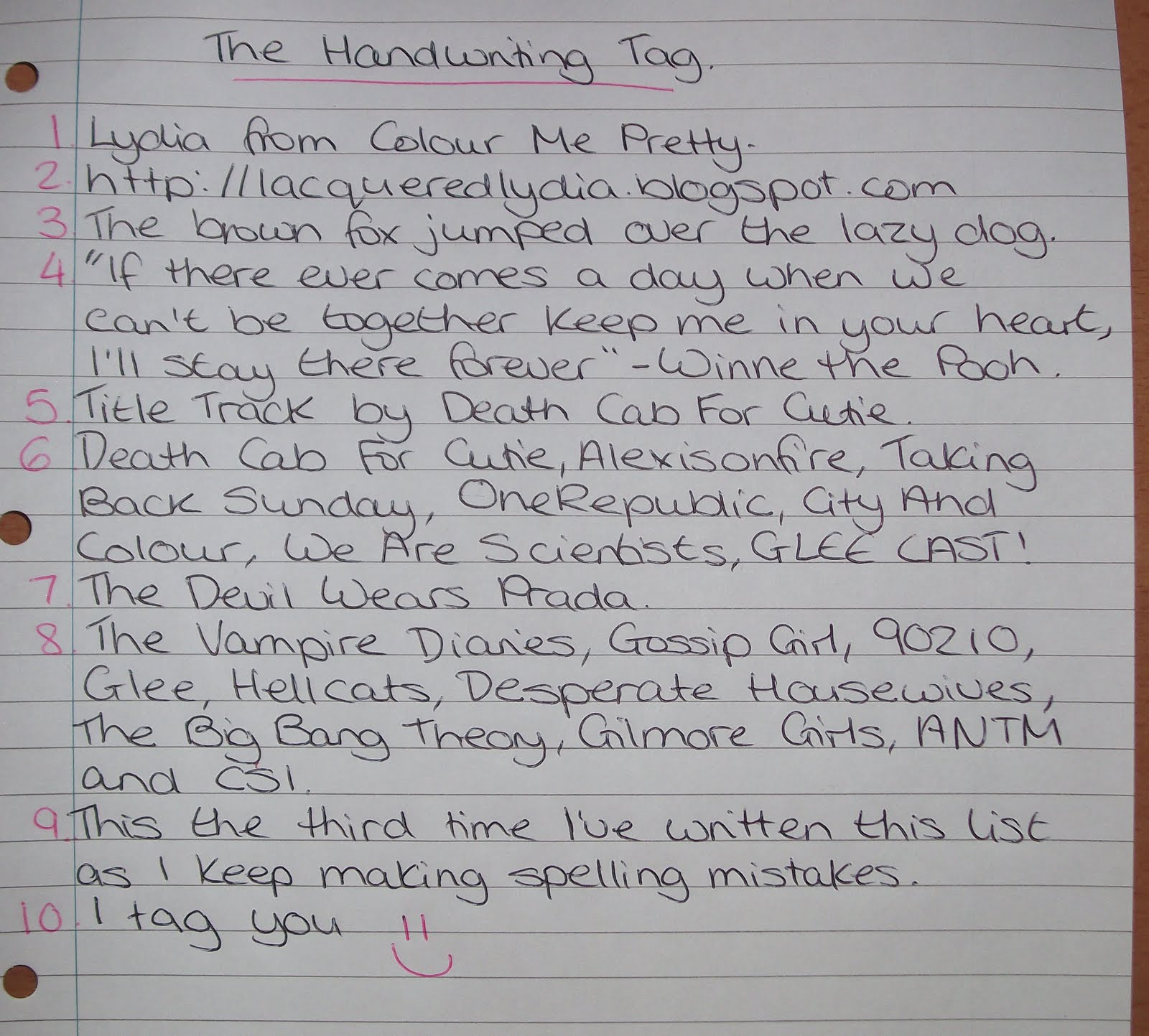 Colour Me Pretty The Handwriting Tag
