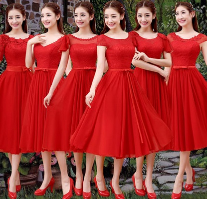 Scarlet Red Past Knee Length Chiffon Bridesmaid Dresses
